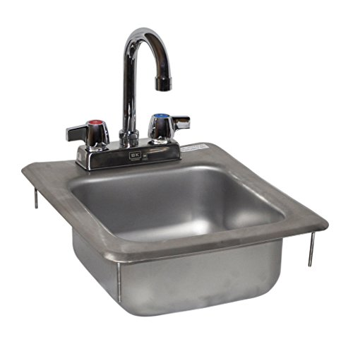 BK Resources BK-DIS-0909-5-P-G Stainless Steel 1 Compartment Drop In Sink with 4'' On Center Deck Mount 3.5'' Gooseneck Faucet and 9'' x 9'' x 5'' Bowl, 5'' Height, 14'' Width, 12'' Length by BK Resources