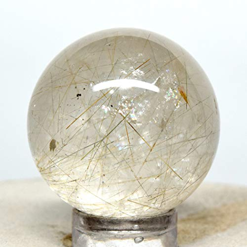 28mm Rainbow Rutilated Quartz Sphere Natural Orange Green Rutile in Quartz Mineral Ball Sparkling Crystal Venus' Hair Polished Stone - China