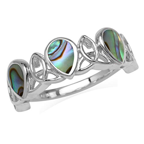3-Stone Pear Shape Abalone/Paua Shell Inlay 925 Sterling Silver Triquetra Celtic Knot Ring Size 8