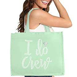 Mint Green I Do Crew Diamond Motif Rhinestone Totes