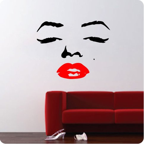 Marilyn Monroe Face Wall Decal Decor Quote Face Red Lips Large Nice Sticker - Marilyn Monroe Face