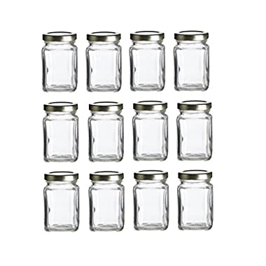 Nakpunar 12 pcs, 3.75 oz Mini Square Glass Jars for Jam, Honey, Wedding Favors, Shower Favors, Baby Foods, DIY Magnetic Spice Jars