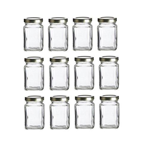 Nakpunar 12 pcs, 3.75 oz Mini Square Glass Jars for Jam, Honey, Wedding Favors, Shower Favors, Baby Foods, DIY Magnetic Spice Jars