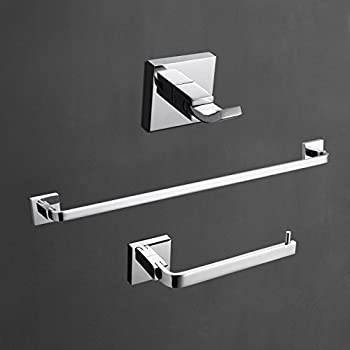 SUS304 Polished Chrome Bathroom Accessory Set Towel Bar Paper Holder Wall Mount