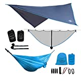 LAZZO Camping Hammock Set with Single Hammock,Mosquito Net, Rain Fly, 3 Foot Tree Straps, and Backpack,Perfect for Backpacking,Camping,Travel,Hiking & Yard (Blue, 9.2)