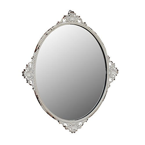Stonebriar Decorative Oval Antique White Metal Wall Mirror, Vintage Home Décor for Living Room, Kitchen, Bedroom, or Hallway, French Country Decor, For Table Top or Wall Hanging Display (Metal Chic Mirror Shabby)
