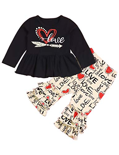 Toddler Little Girls Clothes Love Printed Tops Ruffle Pant Leggings Set Outfits for Girl 1-6T Black