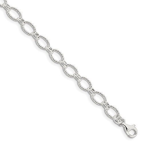 Chain Rolo Fancy Bracelet (925 Sterling Silver 6.1mm Fancy Rolo Chain Bracelet)
