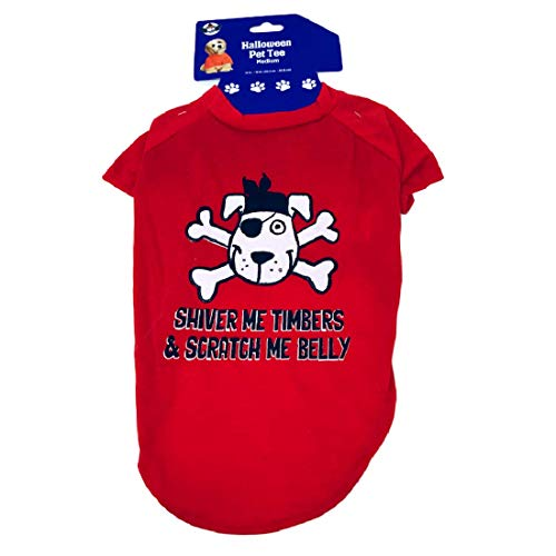 Spooky Things Halloween Pet Tee Medium Size Pirate Shiver Me Timbers & Scratch Me Belly 14 inch x 16 inch]()