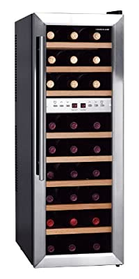 HOMEIMAGE DUAL-ZONE Thermal Electric Wine Cooler with Stainless Steel Door & Wooden Rack for 27 Bottles - HI-27SS