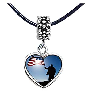Chicforest Silver Plated Memorial Day American flag Photo Flower Head Dangle Heart Charm Beads Fits Pandora Charm