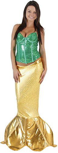 Magical Mermaid Sparkle Tail Deluxe Costume (XS, Gold)
