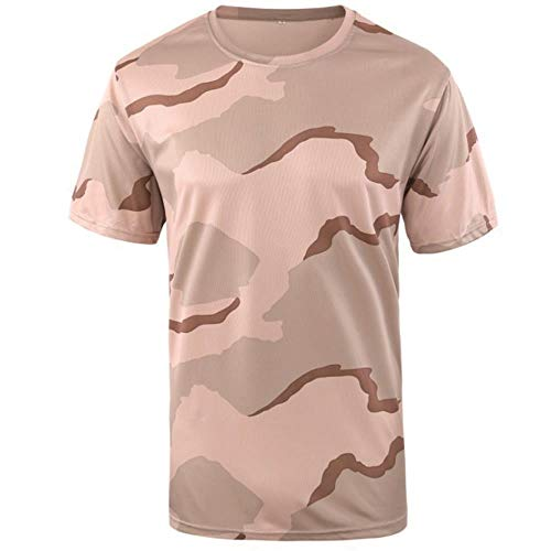 - AKARMY Men's Military Camouflage T-Shirt Camo Crewneck Tee Short Sleeve Top A413 Tricolor Desert S