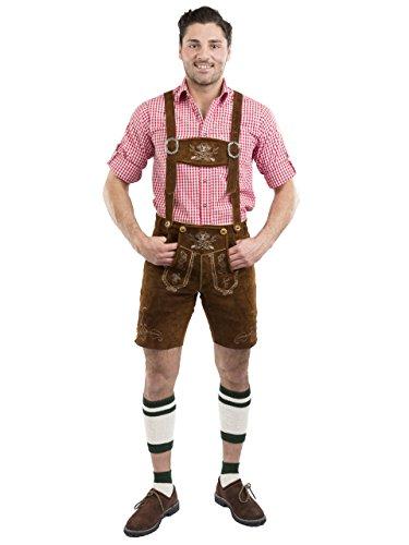 Herren Wiesnstern Trachten Lederhose kurz Trachtenlederhose braun Trachtenhose Lederhosen (46, mittelbraun)