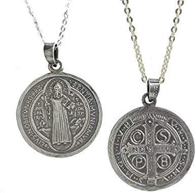 Sicuore Collar Colgante San Benito para Mujer Hombre - Plata de Ley 925 Incluye Cadena 45cm Y Estuche para Regalo: Amazon.es: Joyería