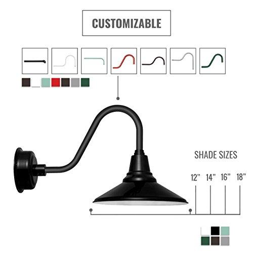Cocoweb BCAW12BK-1B Calla Indoor/Outdoor LED Barn Light With Metropolitan Stem, 12'', Black by Cocoweb (Image #7)