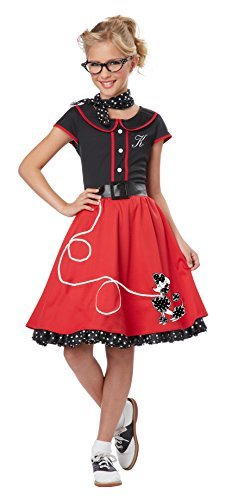 California Costumes Child's 50's Sweetheart Costume, Red/Black, X-Large by California Costumes