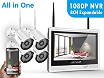 [8CH Expandable] Security Camera System Wireless,Safevant 8CH 1080P NVR&12 Monitor Wireless Security System(NO Hard Drive) with 4PCS 960P Wireless Security Cameras,Plug&Play,No Monthly Fee
