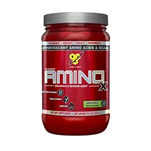 BSN Amino X Post Workout Muscle Recovery & Endurance Powder with 10 Grams of Amino Acids Per Serving, Flavor: Green Apple, 30 Servings (Packaging May Vary)