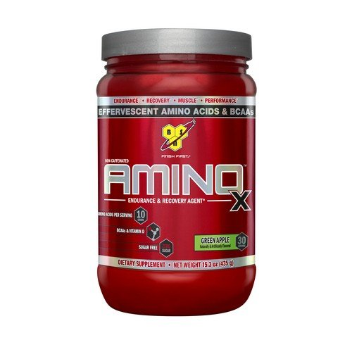 BSN Amino X Post Workout Muscle Recovery & Endurance Powder with 10 Grams of Amino Acids Per Serving, Flavor: Green Apple, 30 Servings