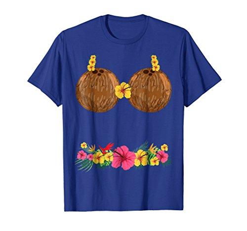 Coconut Bra Lei Flowers Grass Skirt Hula Party T-Shirt Summe