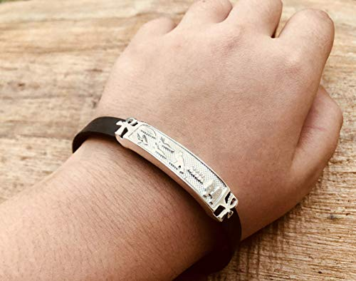 (Personalized Solid Silver Egyptian Cartouche In Leather Bracelet - Made By AYALZ (Up To 9 Letters))