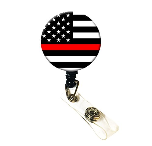 Wigspedia Retractable Name ID Badge Holder Reel/ID Badge Holder - Firefighters Thin Red Line (Thin Red Line Flag (Alligator Clip)) (Firefighter Badges)