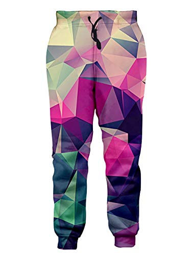 Loveternal Baggy Sweatpants Men 3D All Over Print Purple Joggers Graphic Jogging Pants Color Sports Sweatpants for Men Women Soft Youth Tapered Joggers XL