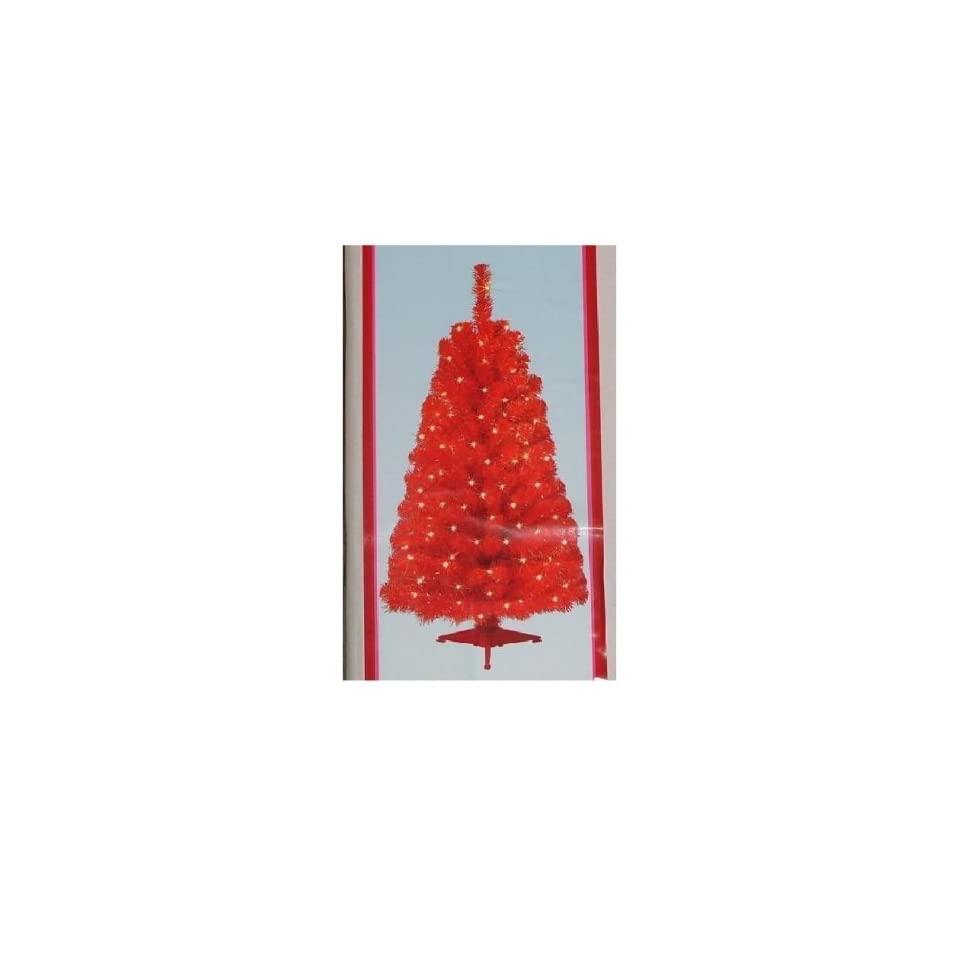 4 FT RED PRE LIT CHRISTMAS TREE AND STAND LIGHTS NEW