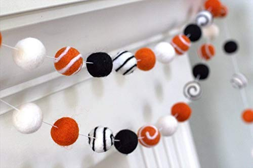 Halloween Felt Ball Swirl Garland- Bright Orange, Black, White Autumn Fall Decor- 1