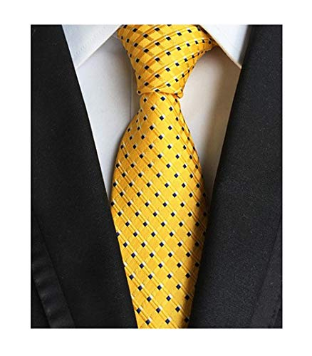 - Secdtie Men's Striped Yellow Glod Jacquard Woven Silk Tie Fashion Necktie LUD44