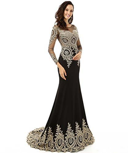 Annies Bridal Long Sleeve Evening Dresses Formal Mermaid Prom Gown