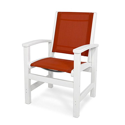 Polywood Coastal Dining Chair in White and Salsa
