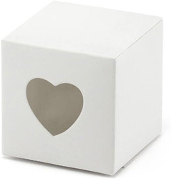 Geschenke schön verpacken 10 x Caja de cartón Blanco con corazón Ventana para Regalos y Boda almendras: Amazon.es: Hogar