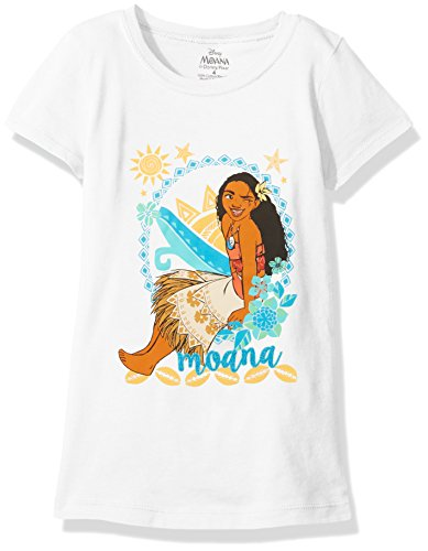 Disney Little Girls' Moana Short Sleeve T-Shirt, White,
