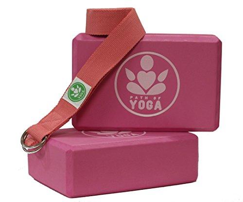 Path of Yoga Blocks & Straps! High Density EVA Foam Block Deepens Poses, Improves Strength, Balance & Flexibility - Lightweight, Odor Resistant