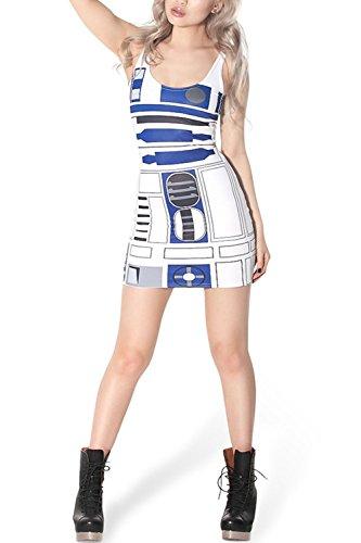 Lady Queen Women's Star Wars R2-D2 Stretch Cherrykeke Clubwear Pencil Skirt Dress Size M Blue White]()