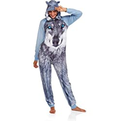 Secret Treasures Women's Assorted Character Sleepwear Adult Onesie Costume Union Suit Pajama ( Blue Tile Wolf)Size : XL