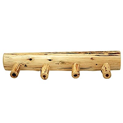 "Cedar Wall Coat Rack 4 Pegs 24"" Width Rustic Hardwood Construction Hand Made"