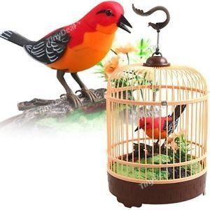 PowerTRC Singing & Chirping Bird in Cage, Realistic Sounds & Movements, Sound Activated Chirp (Birds Best Singing)