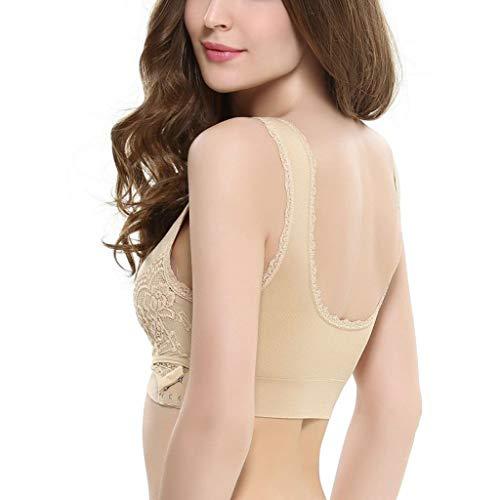 Viccki Women Lady Sexy Front Cross Adjustable Side Buckle Lace Vest Wireless Sport Bra Khaki -