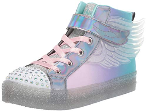 Skechers Kids Girls' Shuffle Brights-Sparkle Wings Sneaker Silver/Multi 10.5 Medium US Little - Sparkle Wings