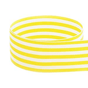 "USA Made 1-1/2"" Yellow & White Monarch Striped Grosgrain Ribbon - 20 Yards (Multiple Colors & Widths Available)"