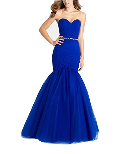Elley Women's Sweetheart Strapless Mermaid Tulle Formal Floor Length Sweep Train Party Prom Dress Royal Blue - Train Length Royal Strapless