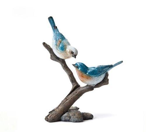 Bluebird Pair, Stonecast Sculpture, Big Sky Carvers