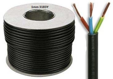 Cable de 5 metros de 3183y 1 mm 10 Amperios, 3 Core flexible Flex Negro