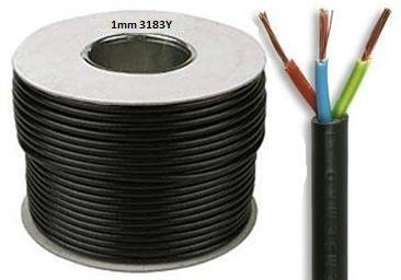 Cable de 5 metros de 3183y 1 mm 10 Amperios, 3 Core flexible Flex Negro