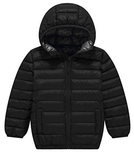ZSHOW Boy's and Girl's Lightweight Goose Down Jacket Outwear Hooded Puffer Jackets,5-6Year,Black