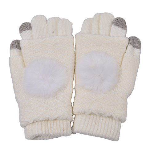 Gloves White Plus (Woogwin Womens Lady Winter Warm Touchscreen Knit Gloves 1 Full-Finger Plus 1 Fingerless Gloves)
