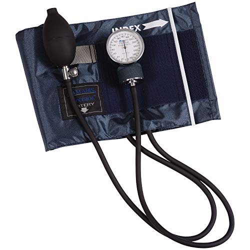 Mabis Precision Series Aneroid Sphygmomanometer Manual Blood Pressure Monitor with Zippered Carrying Case, Cuff Size 13 to 20 inches, Large Adult